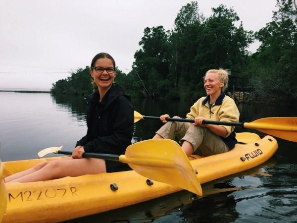 Volunteers kayaking in free time
