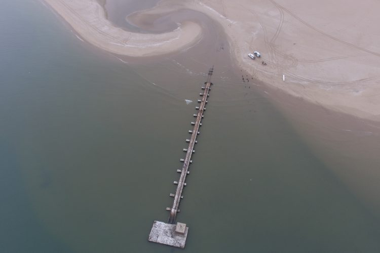 Aerial view of dolphin research in Namibia