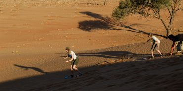 Sand boarding in Kanaan in Namibia
