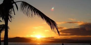 Beach at sunset in Galapagos