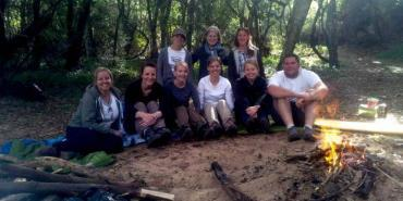 Volunteers around the fire at Kariega