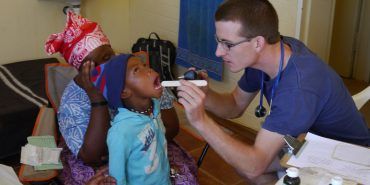 Volunteer doing medical work in Namibia