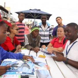 Volunteers doing environmental education in Namibia