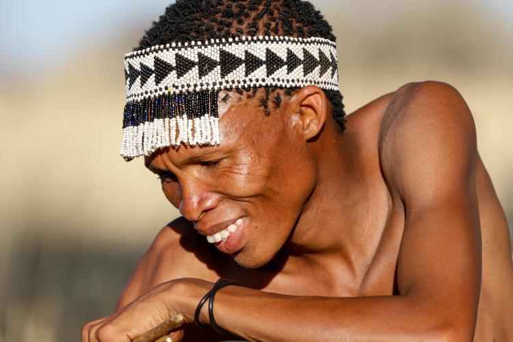 Learning traditional skills from San Bushmen in Namibia