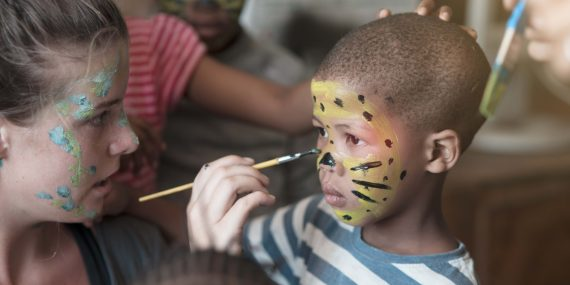 Face painting in pre school in Wildlife Sanctuary