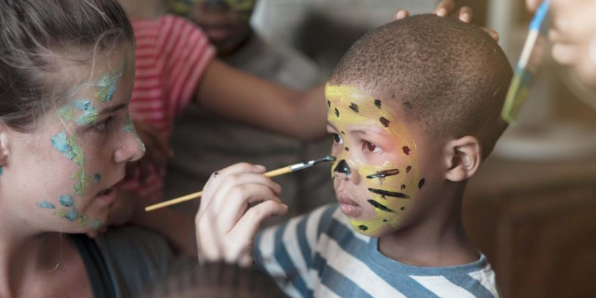 Face painting in pre school in Wildlife Sanctuary