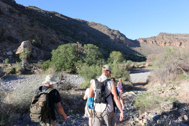 Volunteers hiking in the Namib-Naukluft National Park