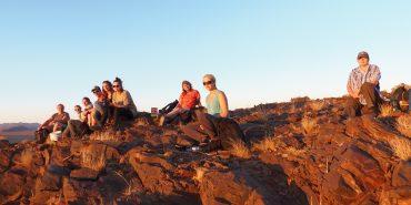 Volunteers hiking in Kanaan Desert in Namibia