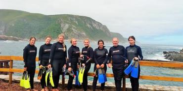 Volunteers before snorkelling with seals in South Africa