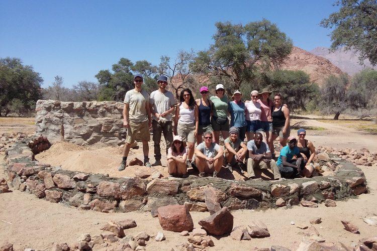 Volunteers in Namibia building walls