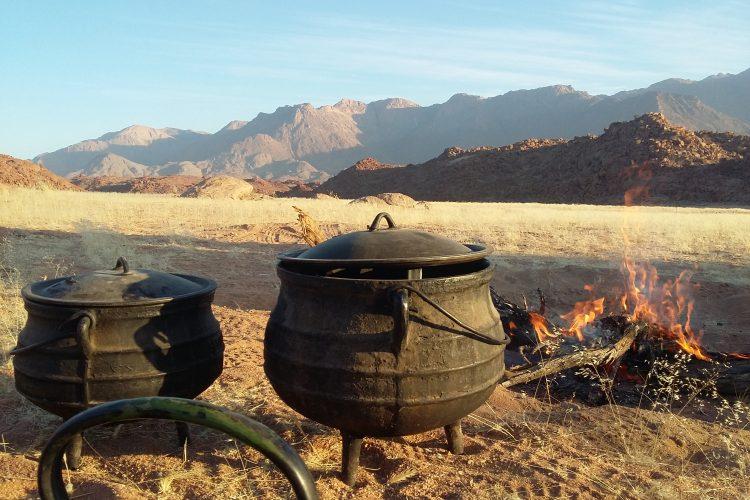 Cooking dinner in the Namib Desert