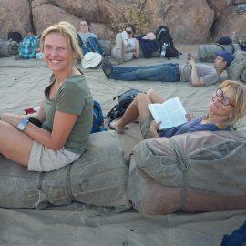 Volunteers relaxing in Namibia