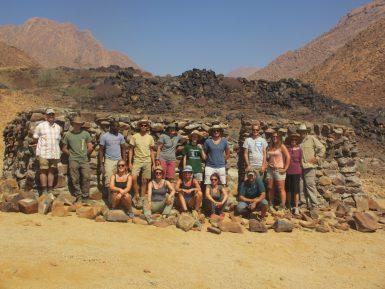 Volunteers building group in Namibia