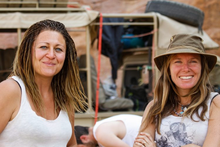 Vicky McNeil and volunteer at Desert Elephant project in Namibia