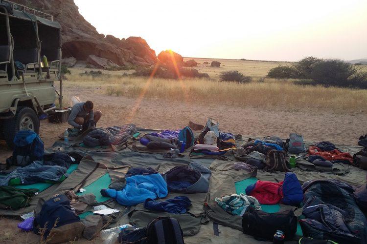 Sunrise at volunteer camp in Namibia