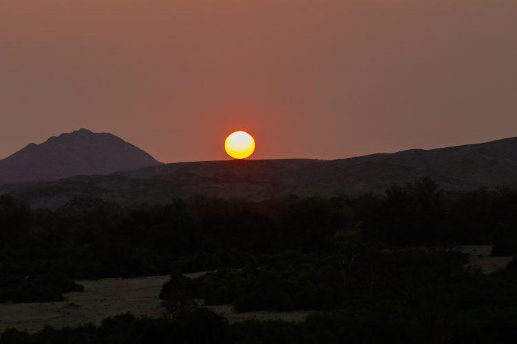 Sunset near the Brandberg mountains in Namibia