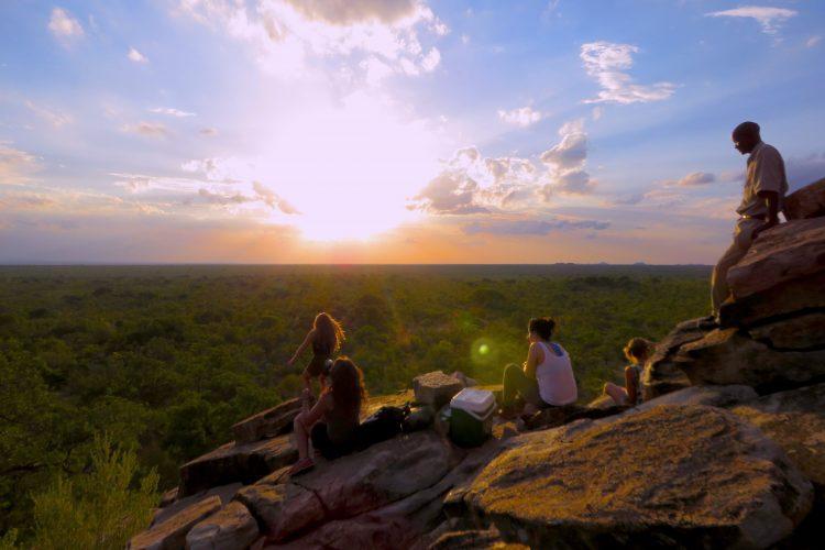 Volunteers watching the sun go down in Botswana