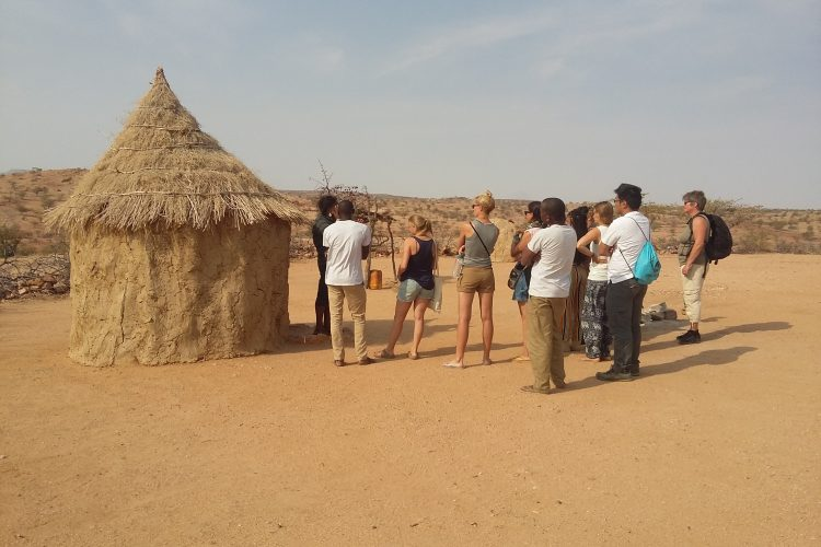 Volunteers visiting a Himba village in Namibia