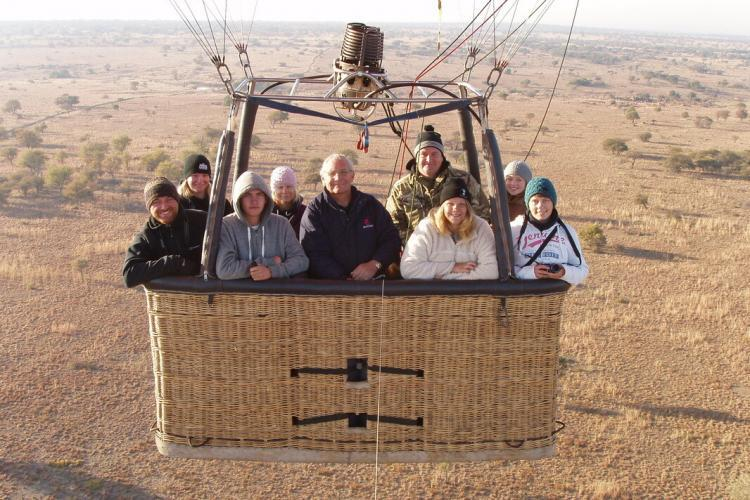 Volunteers in hot air balloon ride in South Africa