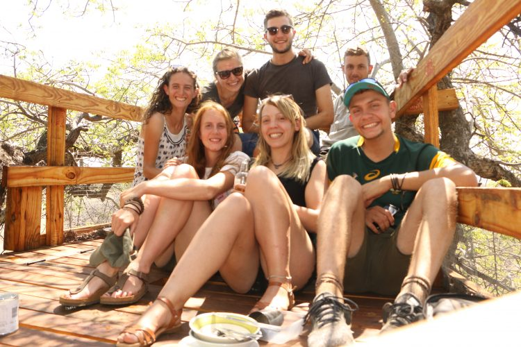 Volunteer group sitting in South Africa