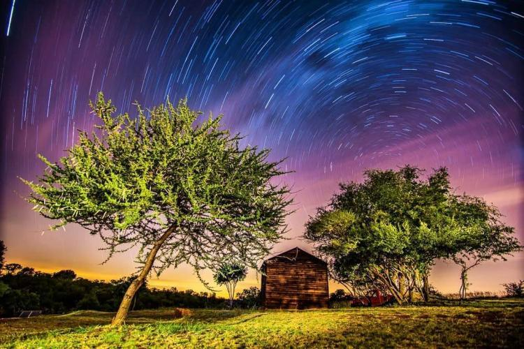 Volunteer house at night in South Africa