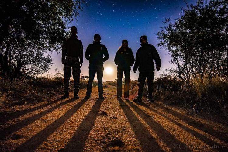 Volunteers walking at night South Africa