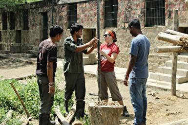 Construction volunteers in India