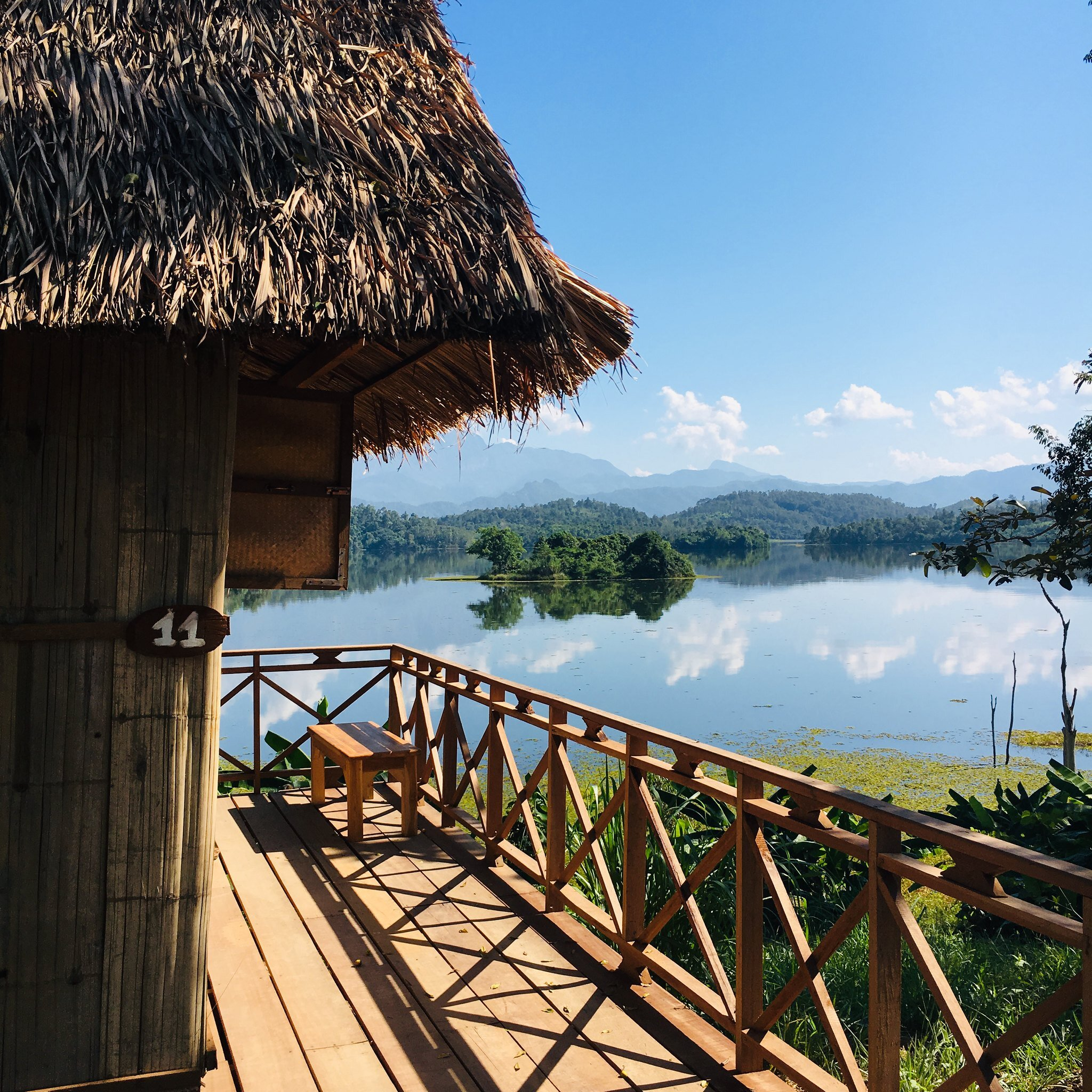 Deck in Laos elephant sanctuary