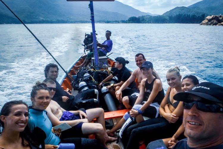 Marine volunteer group on boat in Thailand