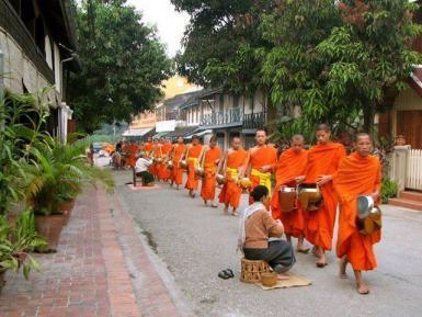 Monks walking in Laos