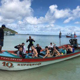 Marine volunteers on boat in Thailand