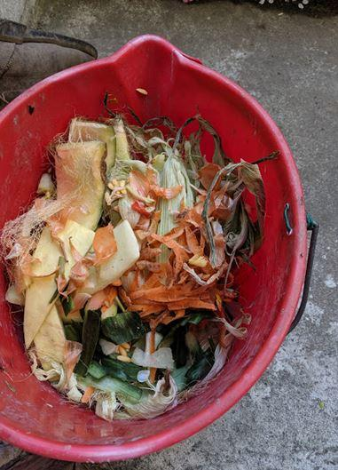 Composting bucket with food scraps