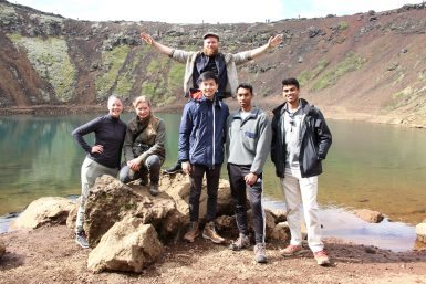 Volunteer group in Iceland by volcanic lake