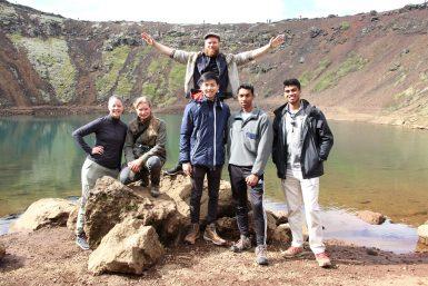 Volunteer group in Iceland by volcanic lake Volunteer Iceland | Tree Planting Iceland | Working Abroad