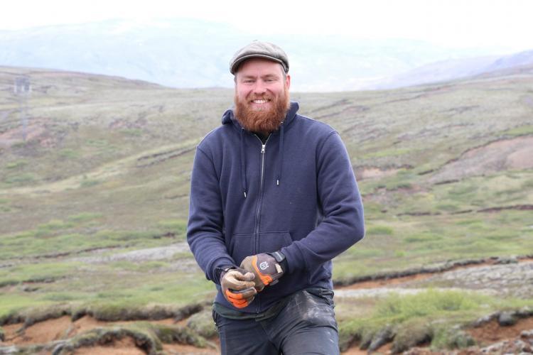 Jon in the field in Iceland