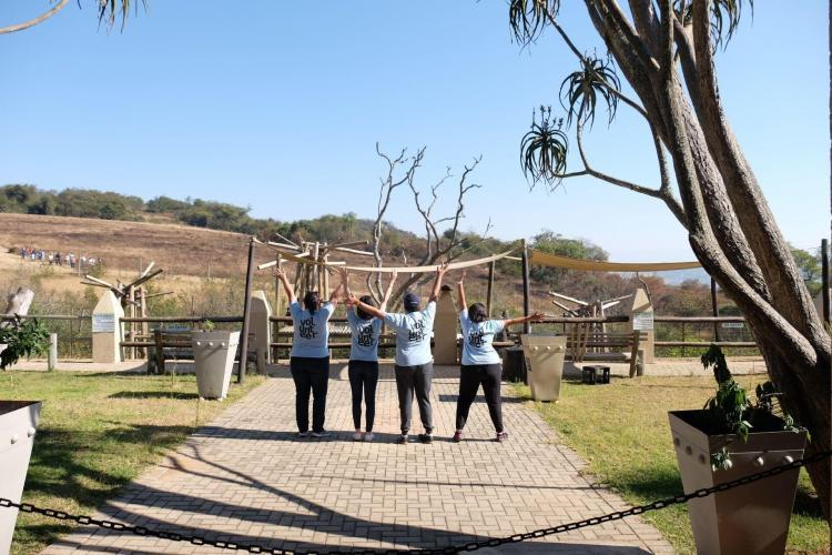 Volunteer group at chimpanzee sanctuary in South Africa