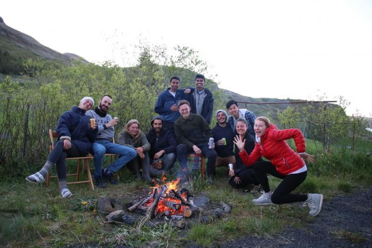 Volunteer group by the fire