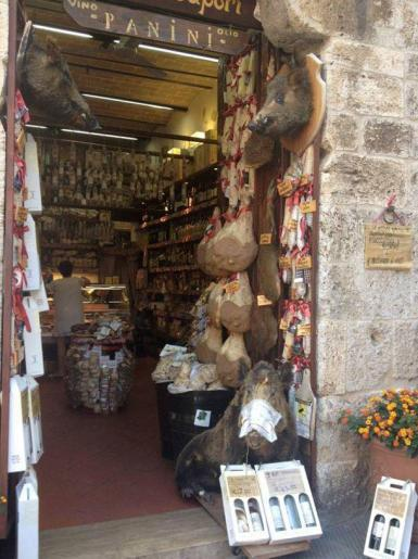 Shop selling wild boar products in Tuscany