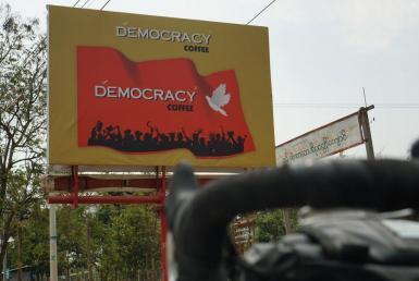 Democracy coffee sign