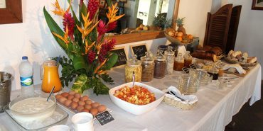 Typical Mauritian buffet breakfast for volunteers