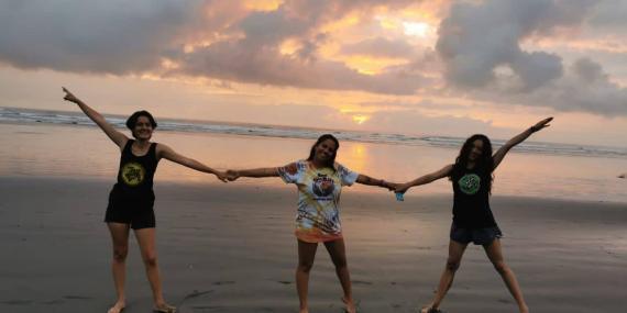 Three volunteers enjoying Hermosa sunrise